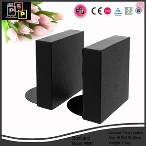 Black PU Leather thick wood core bookend