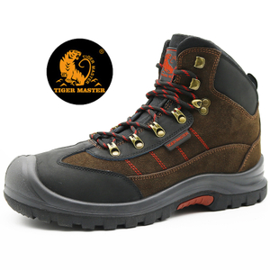 Brown Suede Leather Rubber Out Sole Sport Model Safety Shoes Steel Toe