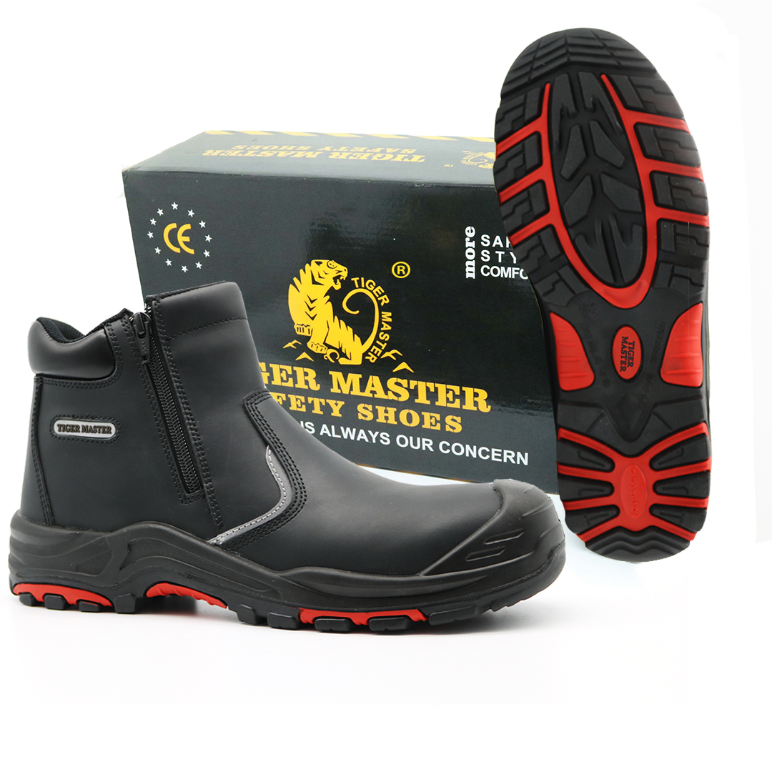 Black Leather Oil Water Resistant Non Slip Anti Static No Lace Safety Shoes Oil Industry