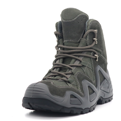 Grey Suede Leather Anti Slip Lightweight Men Jungle Hiking Shoes