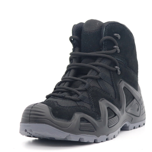 Black Suede Leather Anti Slip Non Safety Sport Hiking Shoes Men