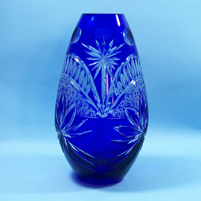 Cobalt blue decorative artificial flower glass vases