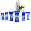 hand etched cobalt blue artificial glass vase for home decoration and flower shop
