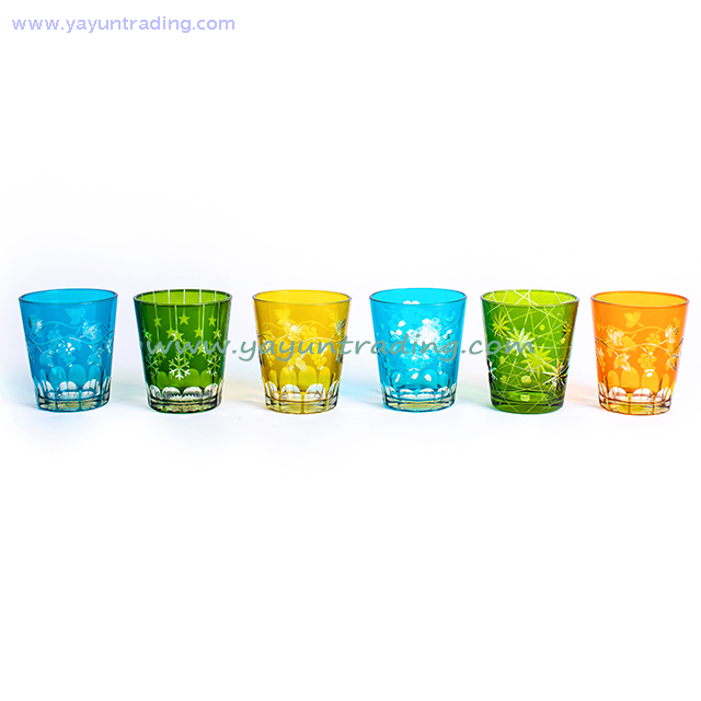Hand-cutting Lead Free Colorful Glass Cup for Drinking Water