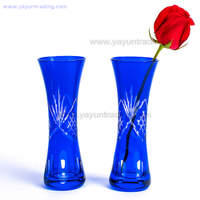 Mosaic Modern Home Decoration Elegant Cobalt Blue Flower Glass Vase