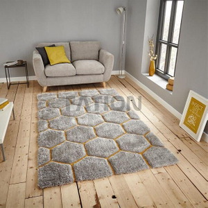 5'×8' Polyester Grey Yellow Soft Shag Rugs Floor Carpet