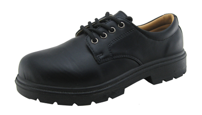Black color artificial leather security guard shoes for men