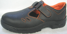 Embossed split leather shoes for workers