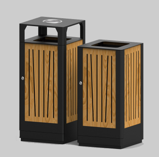 Outdoor waste bin with plastic wood for beach HW-523