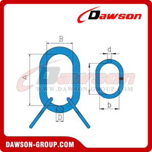 G80 / Grade 80 Welded Master Link Assembly With Flat for Steel Wire Rope Slings / Chain Slings