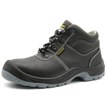 Black Leather Anti Slip Labor Protection Industrial Safety Shoes Steel Toe
