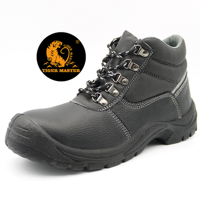 Black Leather Construction Site Safety Shoes Steel Toe Cap