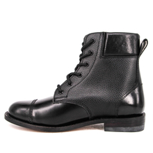 New black quilted military full leather boots for hiking 6117