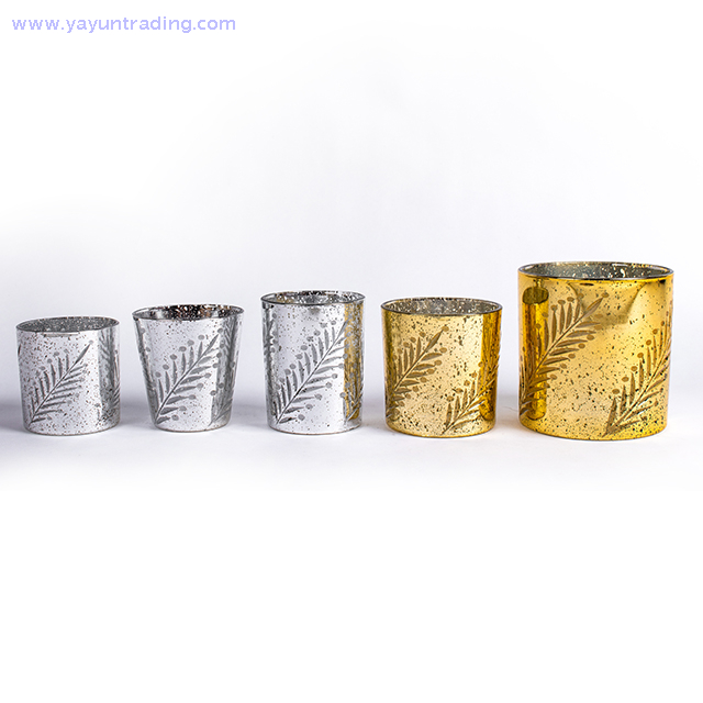 embossed gold glass candle holder