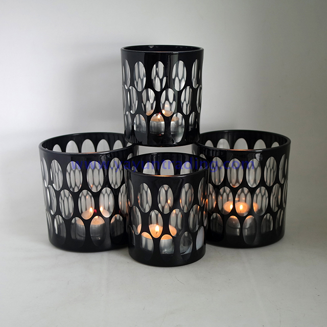hand cut black glass candle jar and vessel