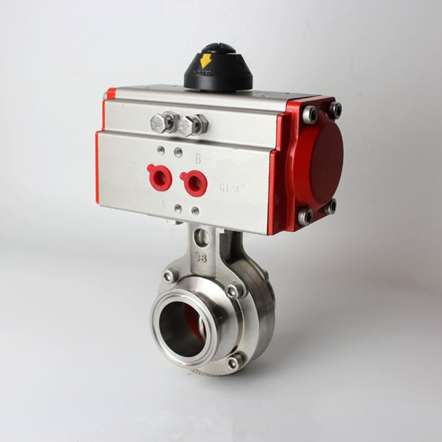 QiiMii 2 Sanitary SS304 Tri Clamp Pneumatic Actuator Butterfly Valve Single-Acting Stainless Steel Actuator Butterfly Valve air to Open