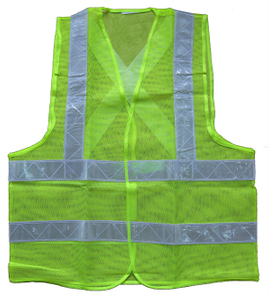 Green polyester mesh reflective safety vest in china
