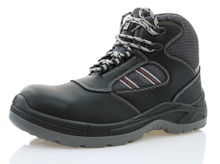 Genuine leather black steel toe safety shoes