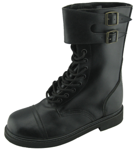 leather army boots with steel toe