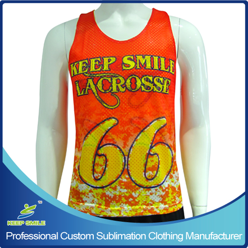 Custom Sublimation Boy's Lacrosse Reversible Pinny with polyester big hole mesh fabric
