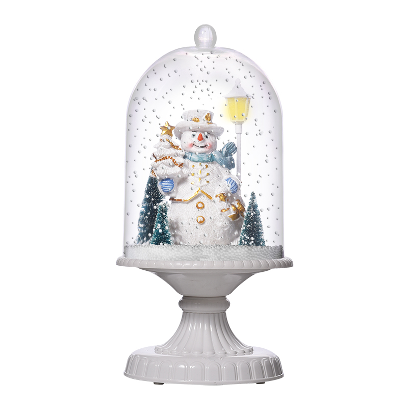 (G17X-W) 2019 Snowing Christmas White Hometable Cloche with Lighting and Music