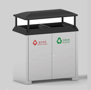 Outdoor waste can for city with two inner bin HW-528