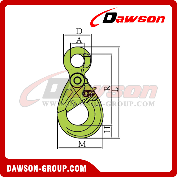 DS1005 G100 European Type Eye Self-Locking Hook - Dawson Group