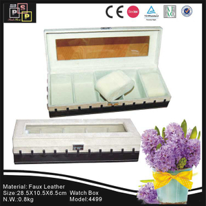 PU leather White Suede Glass Top 4 watches watch box