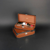 Wine Box Manufacturer Brown PU leather wine box for 375ml bottle