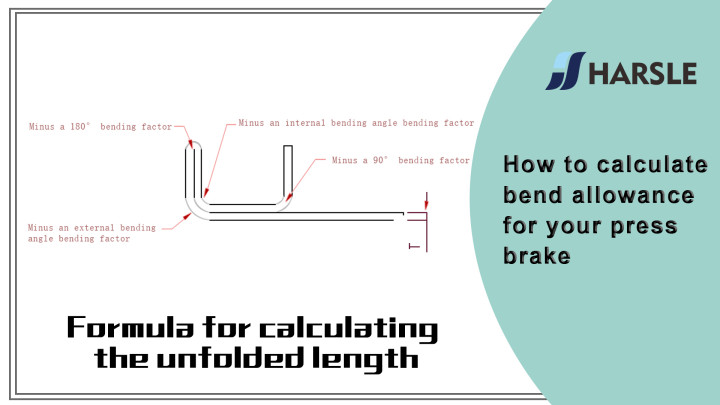 Diagram and calculation formulas for bend allowance