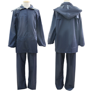 2 pieces polyester PVC coating waterproof men raincoats