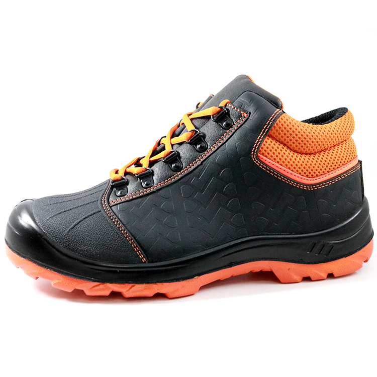 CE Approved Black Leather Anti Puncture Industrial Safety Shoes Steel Toe Cap