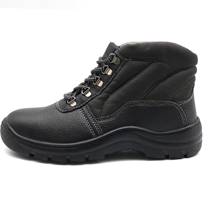 High Ankle Cheap Black Leather Industrial Safety Boots Steel Toe