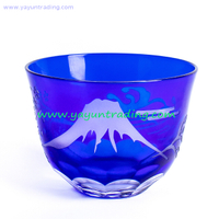 Overlay Cobalt Blue Cut To Clear Shot Glass Tea Cup Mini Glass Bowl for Drinking And Decoration