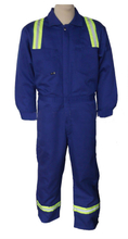 Reflective fire resistant safety working coverall for men