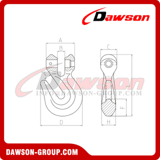 DS686 G80 Clevis Grab Hook for Lifting Chain Slings