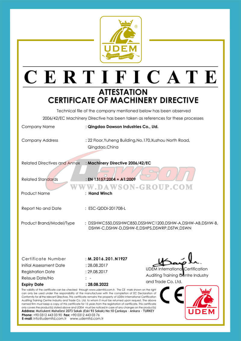 CE Certificate of Hand Winch