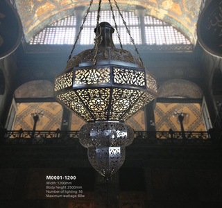 Arabic-style project brass with glass pendant hanging chandelier(M0001-1200)