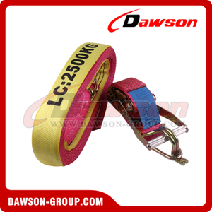 Yellow Professional Set of Ratchet Straps with Trailer Belt Attachment Maximum Load 5000kg Polyester