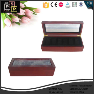 PU leather brown wood painted glass top watch box