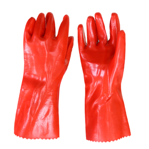 Red Oil Water Resistant Industrial PVC Gloves