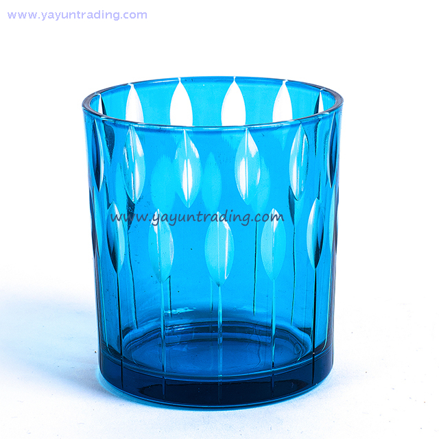Blue Serious Leaf Pattern Hand Made Glass Candle Vessel for Home Decoration