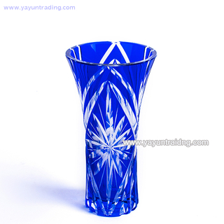 Mouth Blown And Hand Embossed Cobalt Blue Glass Vase