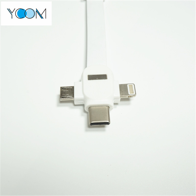3 in 1 USB Cable for Micro, Type C and Lightning