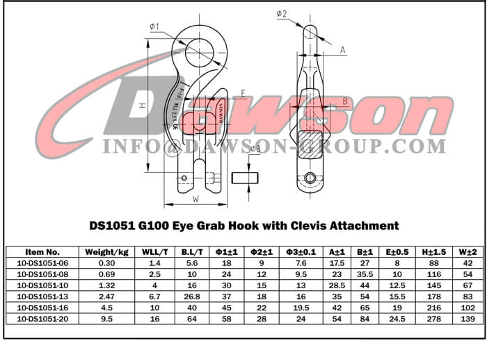 DS1051 G100 Eye Grab Hook with Clevis Attachment - Dawson Group Ltd. - China Manufacturer Supplier