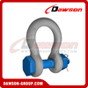 Dawson Brand Hot Dip Galvanized US Type Bow Shackle with Safety Pin, S6 Bolt Type Anchor Shackle