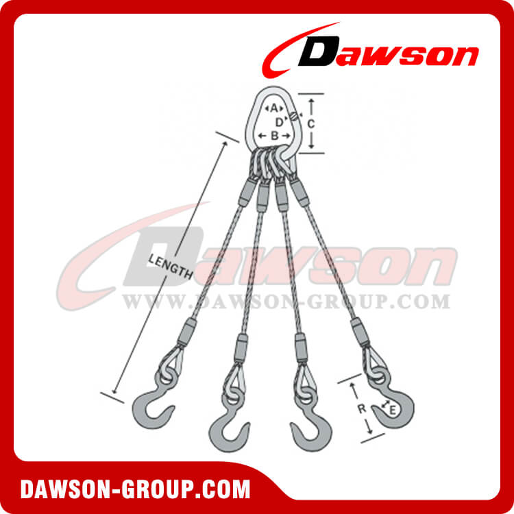 WS74-TTH Flemish Eye Splice Wire Rope Slings, lifting wire rope ...