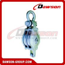 DS-B014 Malleable Iron Shell Block For Manila Rope Double Sheave With Shackle