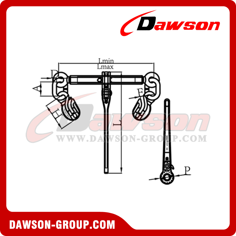 DS1030 G100 Ratchet Binder With Safety Hooks, Grade 100 Load Binder for Lashing