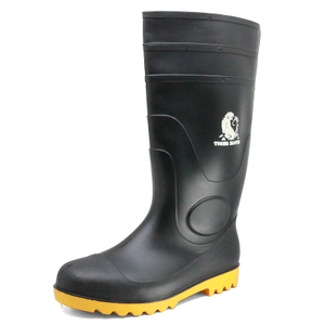 Oil acid resistant anti slip waterproof PVC safety rain boots steel toecap